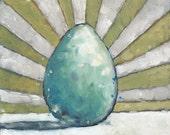 """Robin's Egg Blue - 6"""" x 6"""" Little Ovum Oil Painting"""