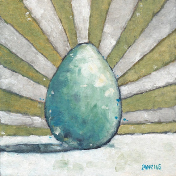 "Robin's Egg Blue - 6"" x 6"" Little Ovum Oil Painting"
