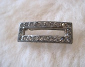 Vintage Metal Double Prong Hair Clip with Rhinestones