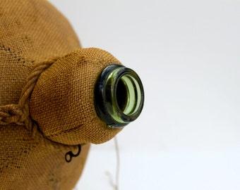 Antique Burlap Covered  Demi-John/Wine Bottle.