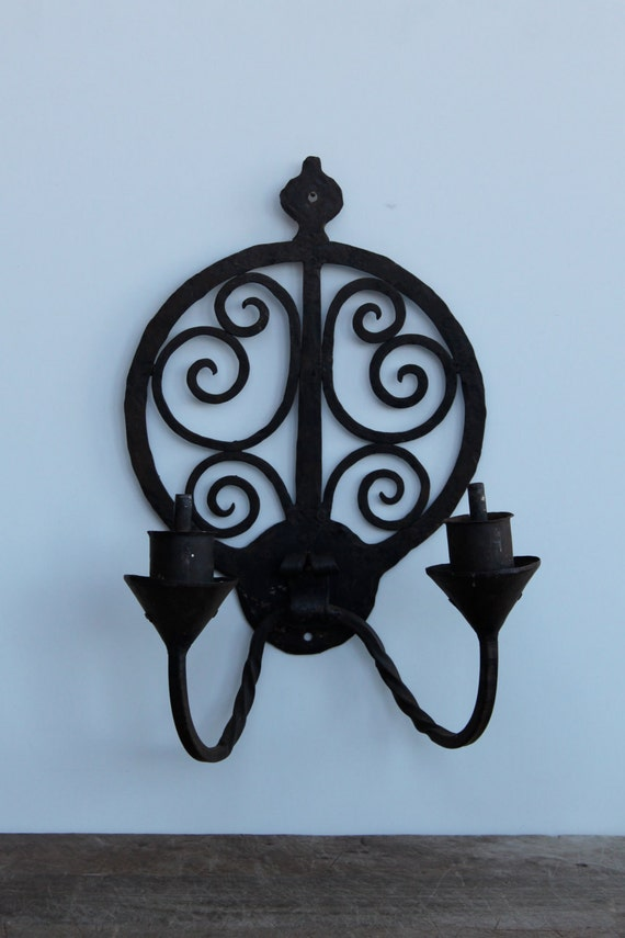 Vintage wrought iron wall candelabra / sconce medieval style