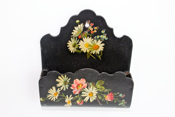 Antique victorian lacquer decoupage wall pocket letter holder