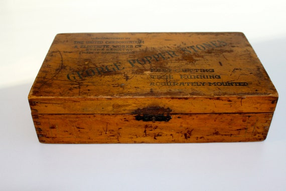 Vintage wooden box with advertisement