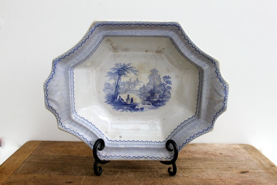 Antique blue transfer ware ironstone footed dish - large