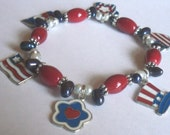 Bracelet, Red White Blue, Patriotic American USA Charms made by Lavender Daisy on Etsy