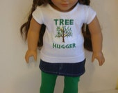 Tree Hugger outfit 3 piece set to fit your 18 inch american girl or similar doll, T shirt, Skirt, and leggings.