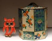 Vintage (1960s) Asian Inspired Floral Tin Box