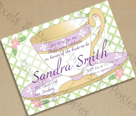 Custom Printable Party Invitation - Print Your Own Garden Tea Party Invite Birthday Party Bridal Shower Purple