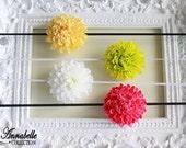 Baby Flower Headbands-Four Flower Headband set in Gold, Green, White and Fuchsia
