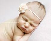 Cream mini flower headband - baby flower headband