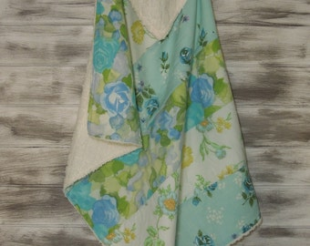 Upcycled Eco Vintage Sheet Unique Boutique Baby Blanket (ready to ship)  - Blue Skies