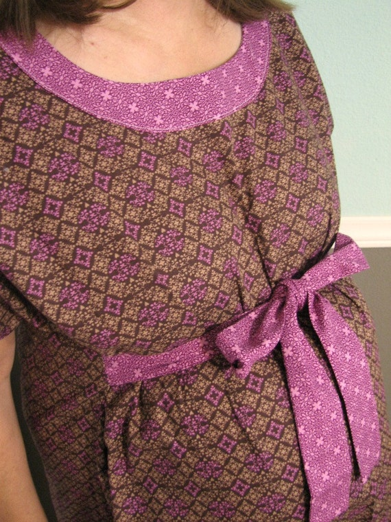 SPECIAL DELIVERY Gown w/ headband and built in sash - Ready To Ship -  Raspberry Mocha