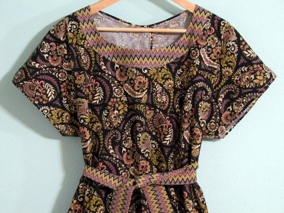 Maternity hospital Gown w/ headband and built in sash - Ready To Ship -  black sage rose paisley chevron