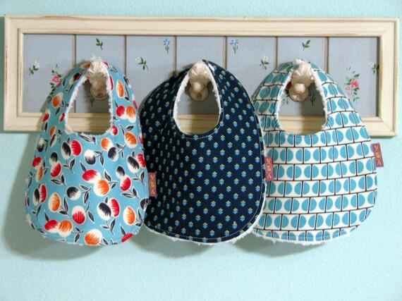 3 Baby BIBS - Lil Boy Blue -  Boy or Grl Boutique Newborn Infant Gift Set - Blue Cream Red Orange