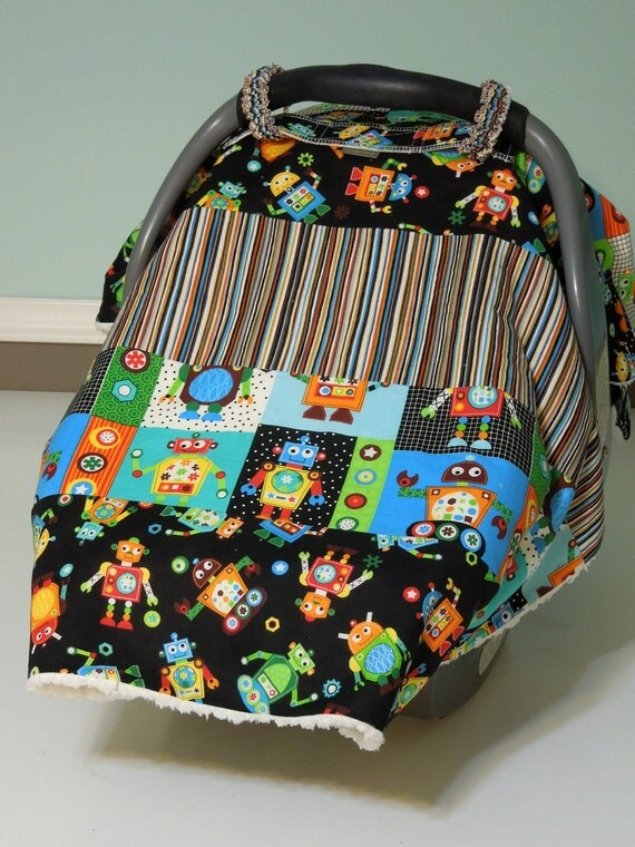 "Baby Boy Car Seat ""COVER ME"" Canopy  Blanket - Modern Boutique Infant Tent Cover w/ Rings & Snap - Warm and Cozy Minky Fleece Lining"