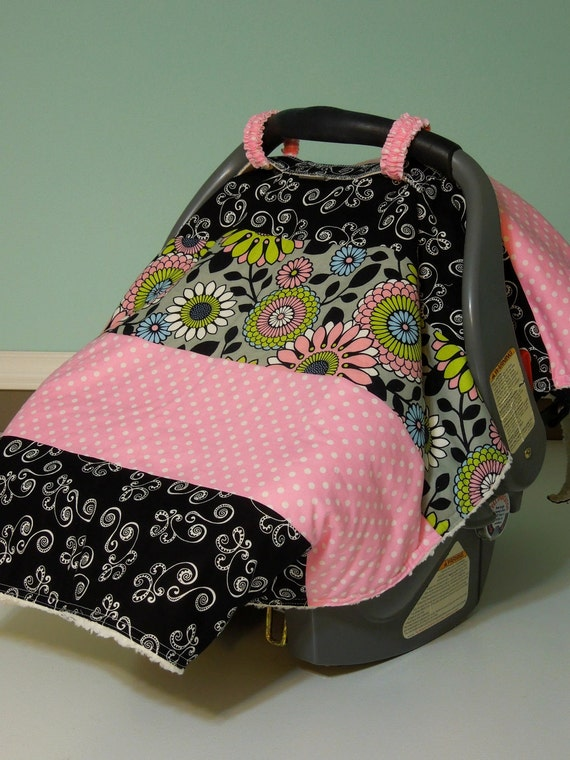 "Baby Girl Car Seat ""COVER ME"" CANOPY  Blanket - Modern Boutique Infant Tent Cover w/ Rings & Snap - Warm and Cozy Minky Fleece Lining"