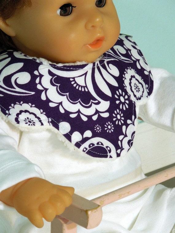 Baby Girl Mini Bib - KANDY COLLAR - decorative scallop -  absorbent w/ minky fleece backing - dribble/teething/drooling - Purple Paisley
