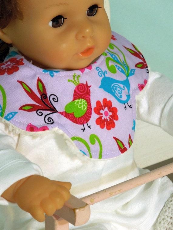 Baby Girl Mini Bib - KANDY COLLAR - decorative scallop -  absorbent w/ minky fleece backing - dribble/teething/drooling -Sweet Birds