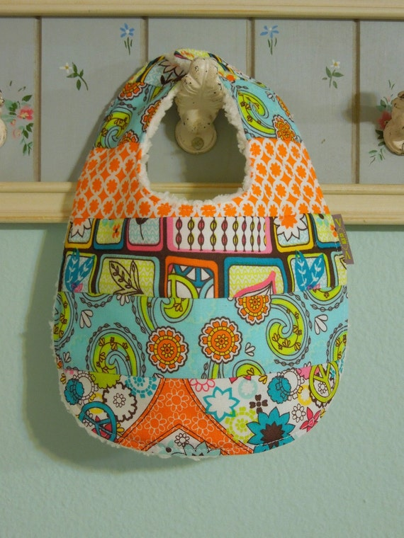 Baby Girl Patchwork - Piece Bib - absorbent w/ minky fleece backing - dribble/teething/drooling - Funky Fresh