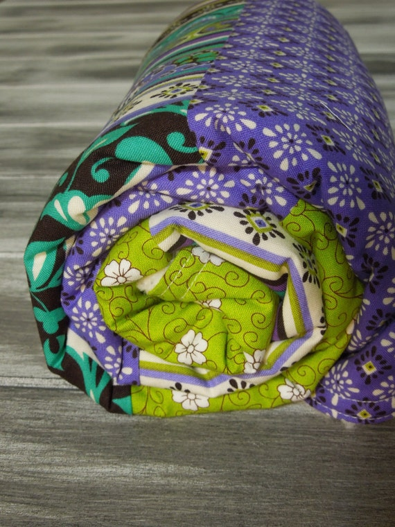 RESERVED - Baby Girl Modern Quilt/Blanket -the QUILANKET- soft minky fleece backing (ready to ship)  - Vera - Purple Green