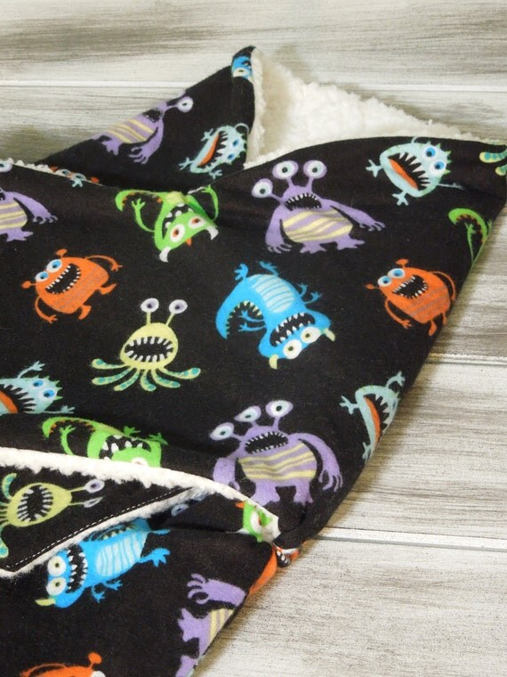 the PEANUT POD baby swaddle - a wrap blanket swaddler for newborn to 3 months - Super Soft Warm & Cozy - Ready To Ship - Monster Mash