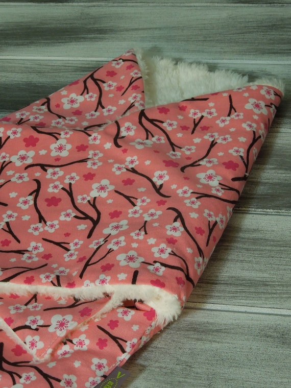 RESERVED the PEANUT POD baby swaddler - a wrap blanket swaddle  - Super Soft Warm & Cozy - Ready To Ship - Pink Cherry Blossom