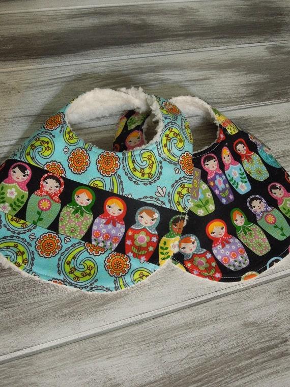 2 Baby Girl BIBS  - Modern Boutique Newborn Infant Baby Bibs Gift Set - Nesting Dolls - Black, teal, red, pink, green