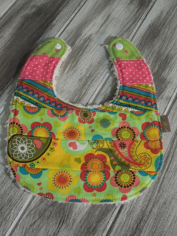 Baby Girl Modern Patchwork - Piece Bib - absorbent w/ minky fleece backing - dribble/teething/drooling - Boho Baby