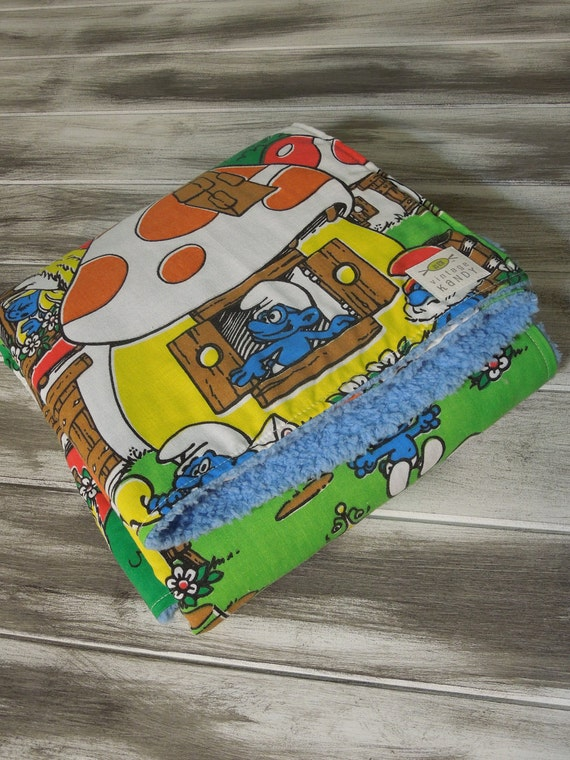 On Hold-Baby Girl or Boy Modern Quilt/Blanket - the QUILANKET - Soft minky fleece backing (ready to ship)  - Vintage Smurf Village (30 x 45)