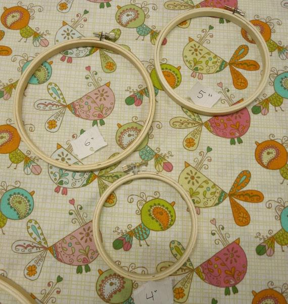 Custom Oder - 3 Fabric Hoops for nursery decor - Whimsical Birds ( for April )