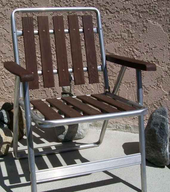 Folding Chair Vintage Aluminum Wood Slat Lawn Chair