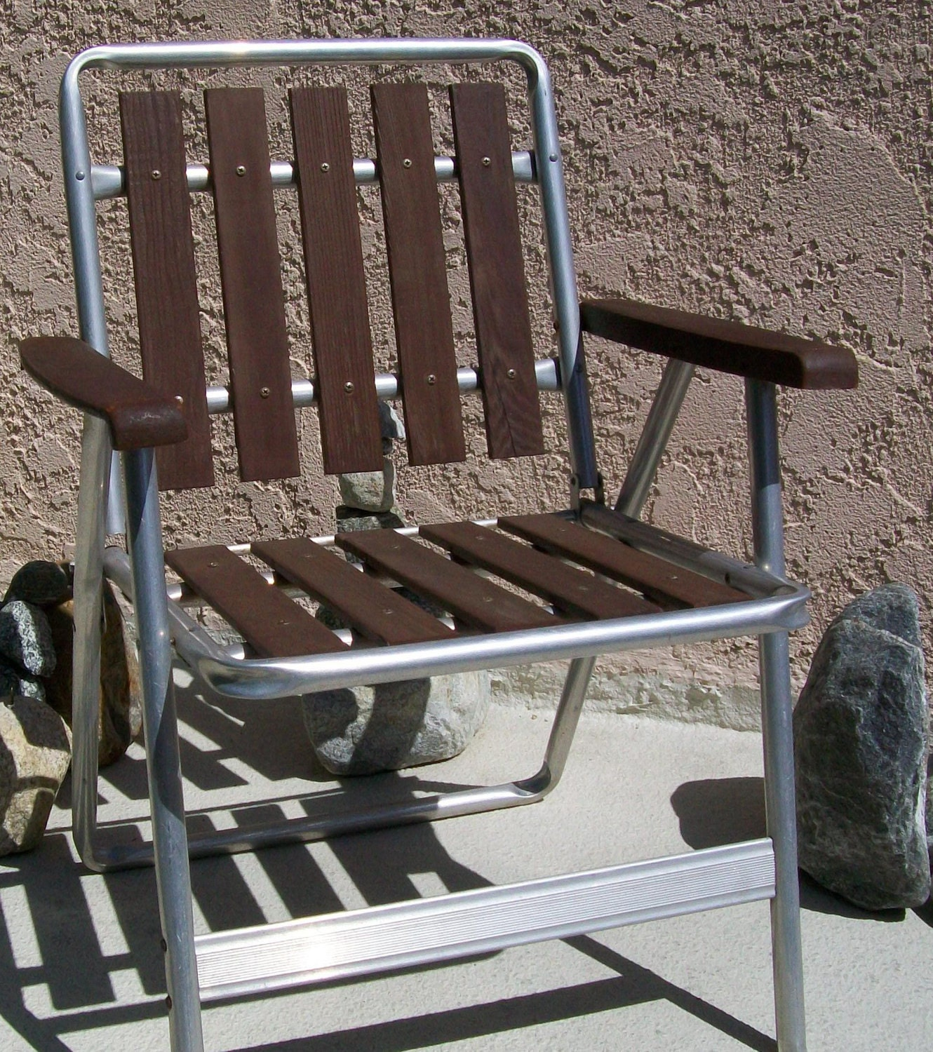 Folding Chair Vintage Aluminum Wood Slat By EastWestClassic1980
