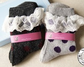 Polka Dot Wool Ankle Socks with Lovely Lace - Light Grey