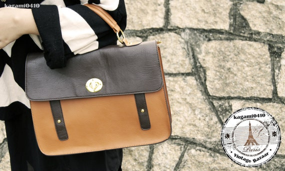 50s Inspired Classy Faux leather Bag Satchel - Orange Brown
