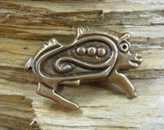 02.132.BZ  Bronze Viking age zoomorphic Boar brooch/pin -