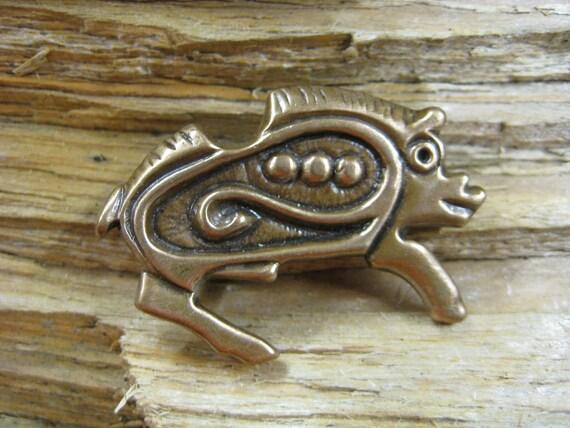 Bronze Viking age zoomorphic Boar brooch/pin -