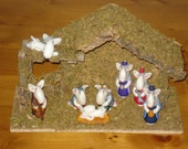 English Bull Terrier - CHRISTMAS - Nativity set with stable