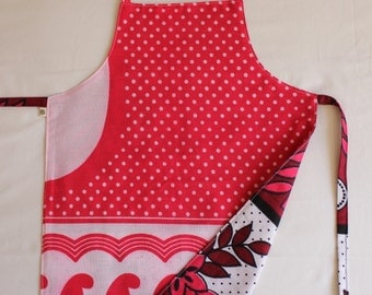 Reversible Child Apron, Kanga - Pink Polkadots and Flowers, Small Kids