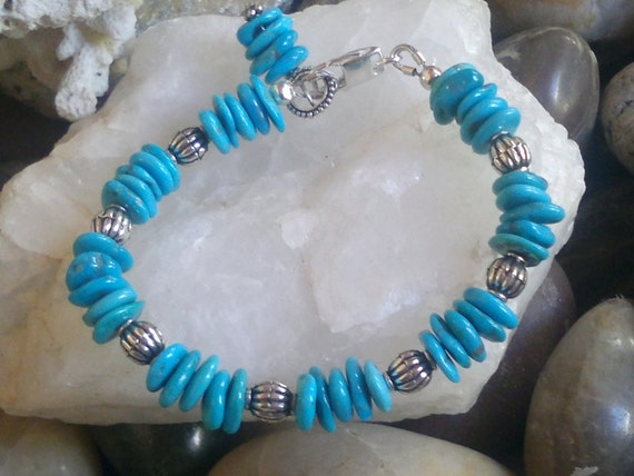 REDUCED ITEM Sundance Country Jewelry, cowgirl rustic rodeo turquoise bracelet, Chunky Sleeping Beauty  Southwest cowgirl style