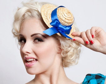 Now, Voyager Dolly Straw Hat Fascinator-Blue