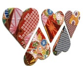Valentines Day Heart Magnets  in Red, Yellow and Blue Japanese Kimono Print Fabric