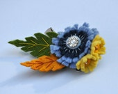 Blue Yellow Chicory Flower Pin and clip