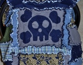 Car Seat canopy, Nursing Cover, Rag Quilt, Skull and cross bones, navy blue, green, camo, blue and green plaid,