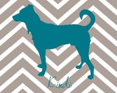 Custom Chevron Personalized Dog / Cat  Silhouette Print of Your Pet