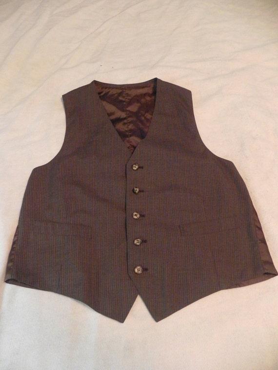 Men's Brown Pinstripe Vest - Medium/Large (M/L)