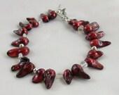 Burgundy red bracelet, fresh water pearl blister bracelet, fringe bracelet, statement bracelet, blood red bracelet, quartz bracelet