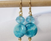 Blue gold-plate earrings with Swarovski crystals and blue crazy agate, blue earrings, turquoise earrings, swarovski crystal earrings