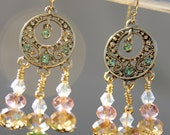 Swarovski crystal chandelier earrings, pink green and gold earrings, peridot color, boho earrings, gypsy earrings, boho, gypsy jewelry