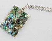 Necklace with abalone rectangle pendant on silver chain