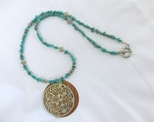 Turquoise necklace with shell and metal filigree pendant, tribal, hippie jewelry, hippie necklace, unisex necklace, boho neckalce